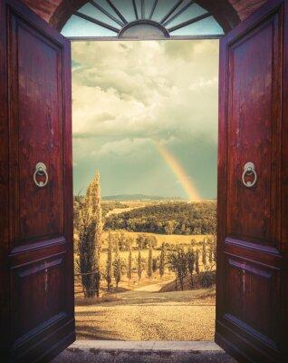 Adesivo Aprire porte e paesaggio
