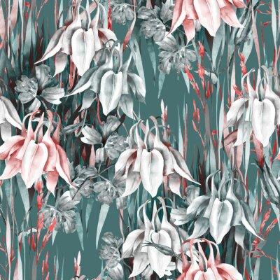 Adesivo Aquilegia Flowers Seamless Pattern. Watercolor Background.