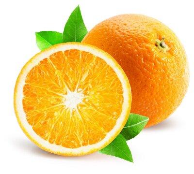 Adesivo arancione con la metà di arancio isolato su sfondo bianco