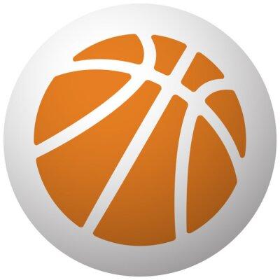 Adesivo Arancione Pallacanestro icona sulla sfera isolato su sfondo bianco