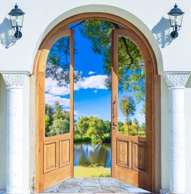 Adesivo Arch door open pond