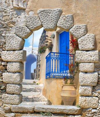 Adesivo Architettura tradizionale del villaggio di Oia a Santorini Islanda, Gre