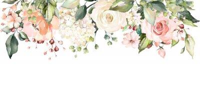 Adesivo arrangiamenti con fiori ad acquerelli. illustrazione floreale. Composizione botanica per matrimonio o biglietto di auguri. ramo di fiori - rose astrazione