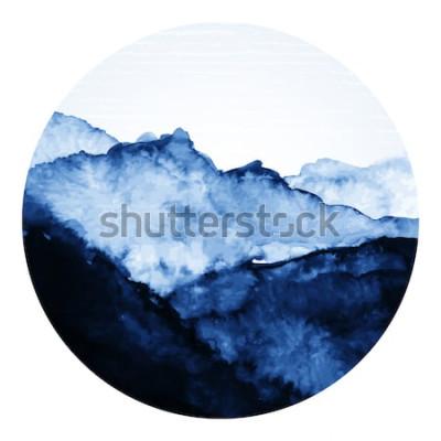 Adesivo Arte asiatica tradizionale dell'inchiostro con le montagne. Illustrazione arte vettoriale.