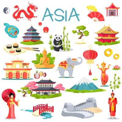 Adesivo Asia Raccolta di elementi simbolici su bianco