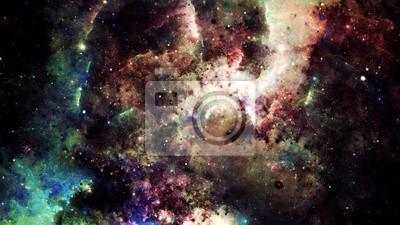 Adesivo astratto digitale di un luminoso e colorato galassia nebulosa e stelle
