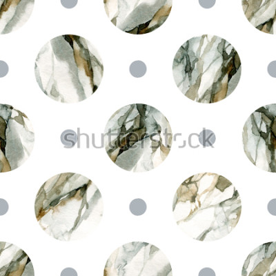Adesivo Astratto geometrico. Pittura in marmo color acqua. Reticolo senza giunte del cerchio dell'acquerello. Cerchi con acqua marmorizzata, grana, trame di carta. Illustrazione dipinta a mano