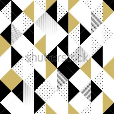 Adesivo Astratto modello senza soluzione di continuità. Modello senza cuciture con triangoli. Modello triangolo oro bianco e nero. Illustrazione vettoriale