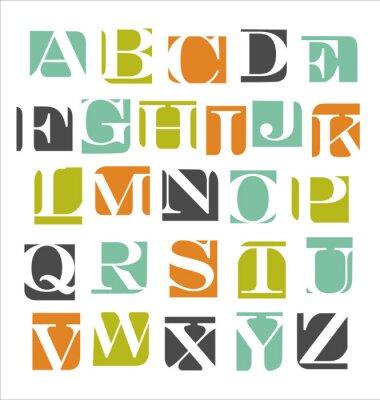 Adesivo astratto moderno alfabeto manifesto