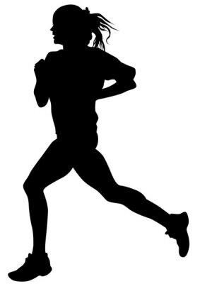 Adesivo atleti della donna sulla gara di corsa su sfondo bianco