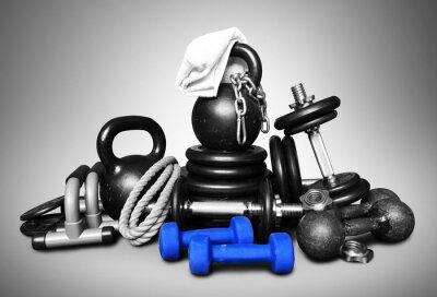 Adesivo Attrezzature sportive per il bodybuilding raccolti in un mucchio