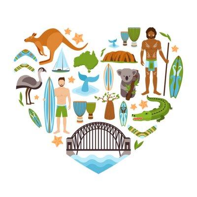 Adesivo Australia a forma di cuore