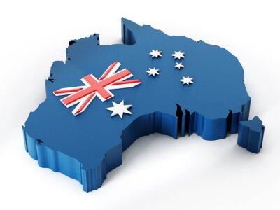 Adesivo Australia Mappa e bandiera