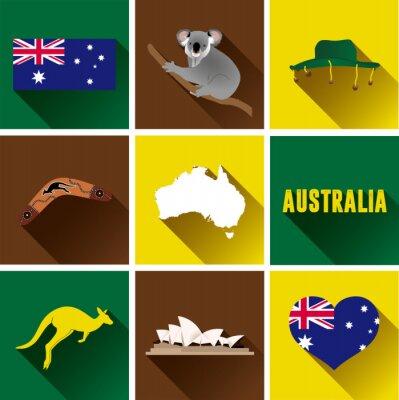 Adesivo Australia, piatto Icon Set. Set di grafica vettoriale icone piane che rappresentano punti di riferimento e simboli dell'Australia.