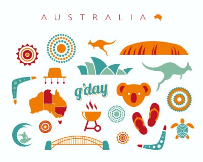 Adesivo Australia, set di icone - illustrazione vettoriale