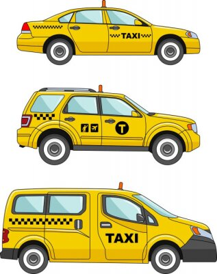 Adesivo Auto taxi su uno sfondo bianco in uno stile piatto