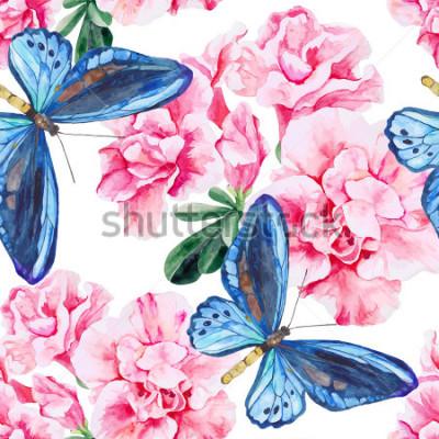 Adesivo Azalea rosa e farfalle blu. Modello senza cuciture, dipinto a mano, acquerello. Sfondo vettoriale