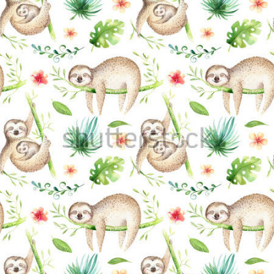 Adesivo Baby animals sloth nursery isolated seamless pattern. Watercolor boho tropical drawing, child tropical drawing cute palm tree leaves, tropic green texture,exotic flower. Aloha backgraund