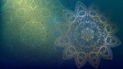 Adesivo Background with golden mandalas, round indian pattern, muslim pattern
