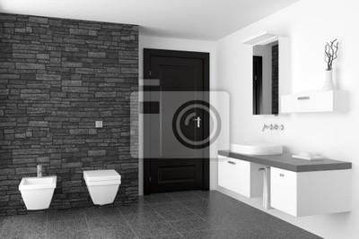 Bagno Moderno Con Muro Di Pietra Nera E Attrezzature Nero Adesivi A Muro Bide Asciugamano Residenziale Myloview It