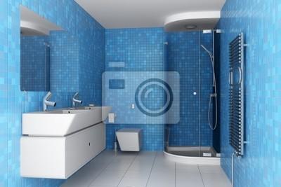 Piastrelle Blu Per Bagno : Bagno moderno con piastrelle blu sul muro e attrezzature bianco