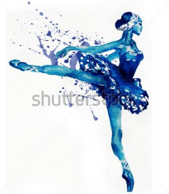 Adesivo Ballerina di Dancing in blu. Illustrazione dell'acquerello