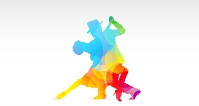 Adesivo Ballerini di tango, colori, fantasia, danza, ballerini, tango