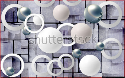 Adesivo Balls and circles on an abstract background. Photo wallpaper for wall. 3D rendering.