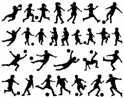 Adesivo Bambini che giocano a calcio vettore sagome