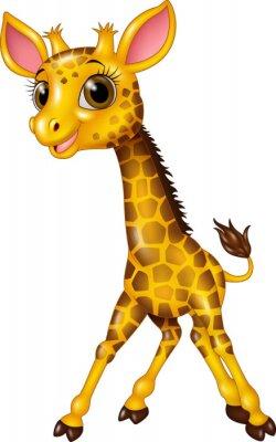 Adesivo bambino del fumetto giraffa isolato su sfondo bianco