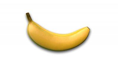 Adesivo Banana, frutta tropicale isolato su sfondo bianco, vista laterale
