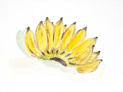 Adesivo banane acquerello dipinto