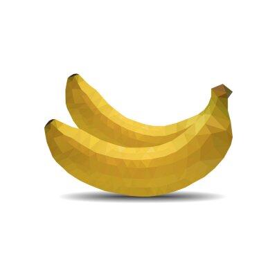 Adesivo banane del poligono su sfondo bianco isolare illustrazione vettoriale eps 10