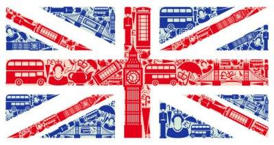 Adesivo Bandiera dell'Inghilterra dai simboli del Regno Unito e Londra