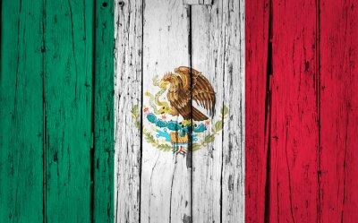 Adesivo Bandiera Messico Grunge Background