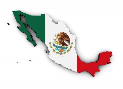 Adesivo Bandiera Messico Mappa