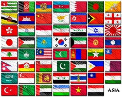Adesivo Bandiere dei paesi asiatici in ordine alfabetico