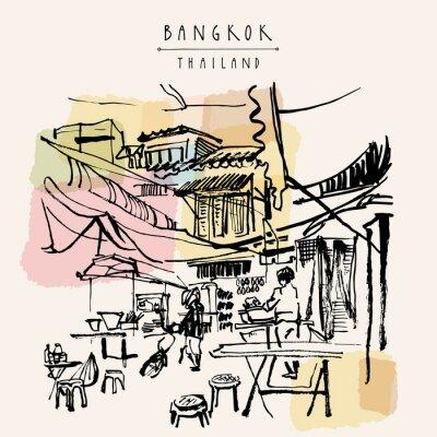 Adesivo Bangkok Thailandia cartolina disegnata a mano