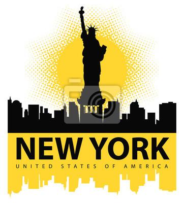Adesivo banner con la Statua della Libertà sullo sfondo di New York, e il sole