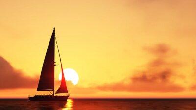 Adesivo Barca a vela e il tramonto