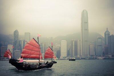 Adesivo barca a vela stile cinese a Hong Kong