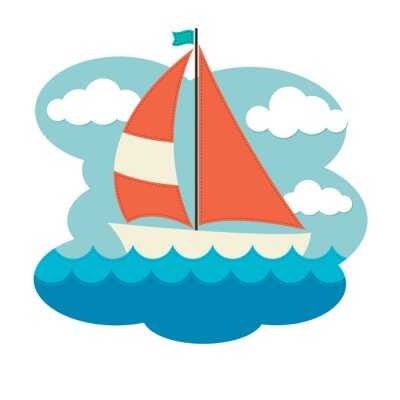 Adesivo Barca a vela sul Waves