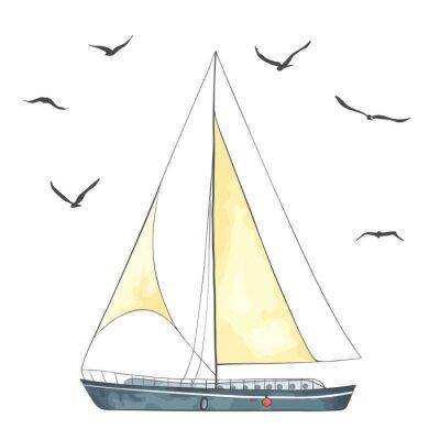 Adesivo Barca con vele e gabbiani fatta nel vettore