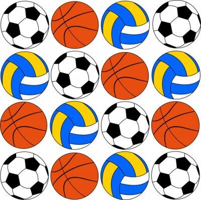 Adesivo basket icone palloni da calcio e pallavolo