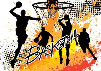 Adesivo basketball player team on white grunge background