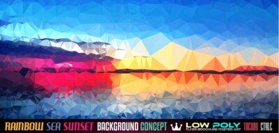 Adesivo Basso sfondo Poly TSEA Sunset arte per la volantino poligonale