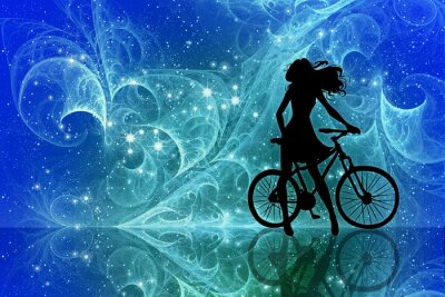 Adesivo Beautiful girl silhouette and bicycle on fantasy sky stars. Young woman in dress with long curly hair standing with bike on bright abstract space background.