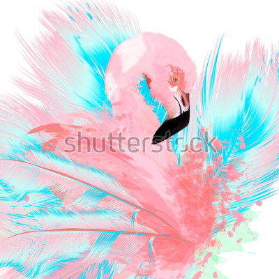 Adesivo Beautiful vector illustration with drawn pink flamingo and blue feathers