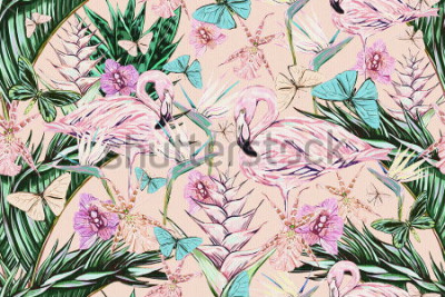 Adesivo  Beautiful vintage seamless floral jungle pattern background. Colorful watercolor tropical flowers, palm leaves and plants, butterflies, bird of paradise flower with pink flamingos, exotic print