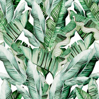 Adesivo Beautiful watercolor seamless pattern with tropical leaves and banana leaves.